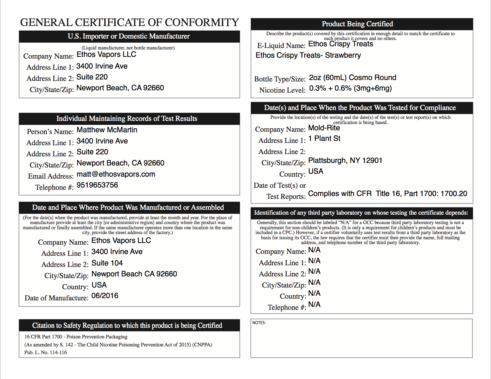 General Certificate of Conformity (GCC)