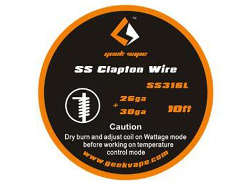 10ft SS316L 26GA+30GA Clapton Wire by Geek Vape